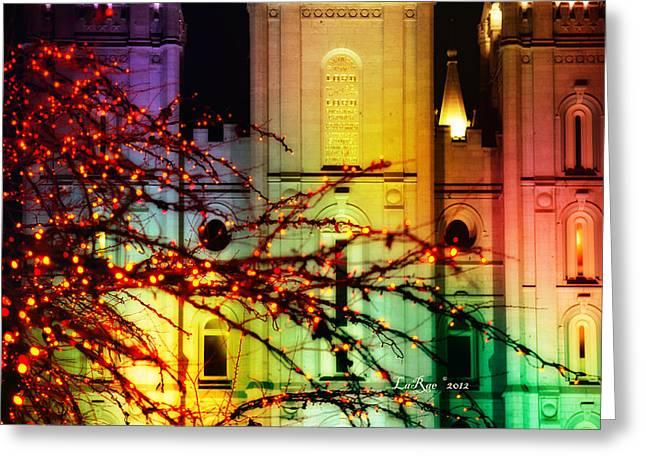 Utah Temple Photography Greeting Cards - Rainbow Christmas Greeting Card by La Rae  Roberts
