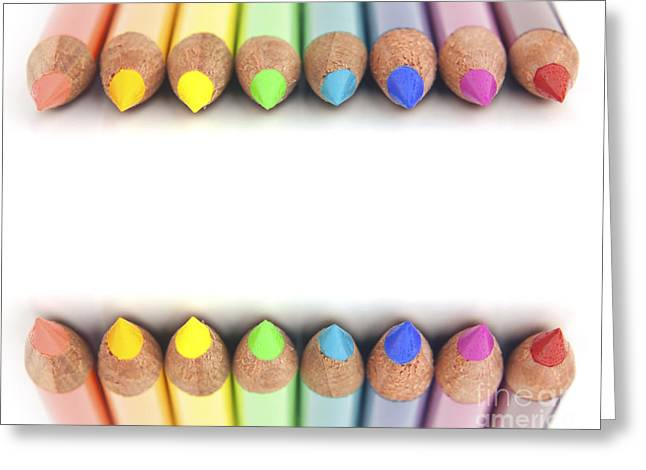 Spectrum Photographs Greeting Cards - Rainbow colored pencils Greeting Card by Blink Images