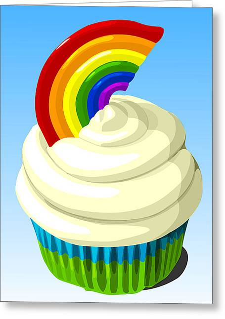 Frosting Digital Greeting Cards - Rainbow cupcake Greeting Card by Jay Reed
