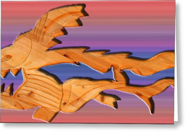 rainbow dinosaur fish Greeting Card by Robert Margetts