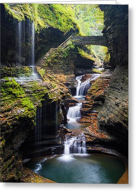 New York Fairy Tale Greeting Cards - Rainbow Falls Greeting Card by Adam Pender