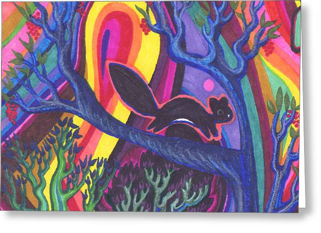Gaia Drawings Greeting Cards - Rainbow Forest Greeting Card by James Davidson