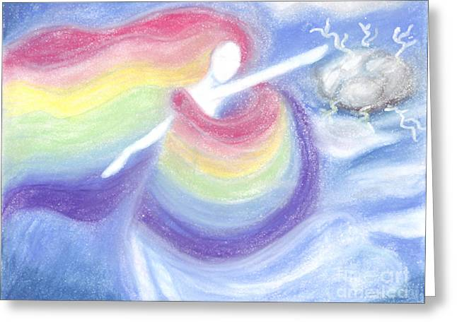 Violet Blue Pastels Greeting Cards - Rainbow Goddess Greeting Card by Cassandra Geernaert