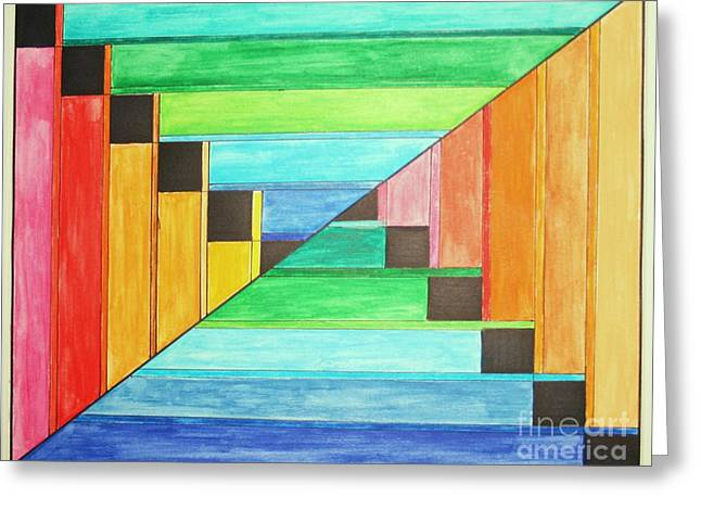 Opt Greeting Cards - Rainbow in Line Greeting Card by Christina A Pacillo