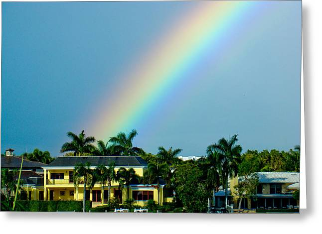 Florida Panhandle Mixed Media Greeting Cards - Rainbow in Naples Greeting Card by Dennis Dugan
