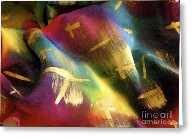Colorful Abstract Tapestries - Textiles Greeting Cards - Rainbow Lights Greeting Card by Joanna White