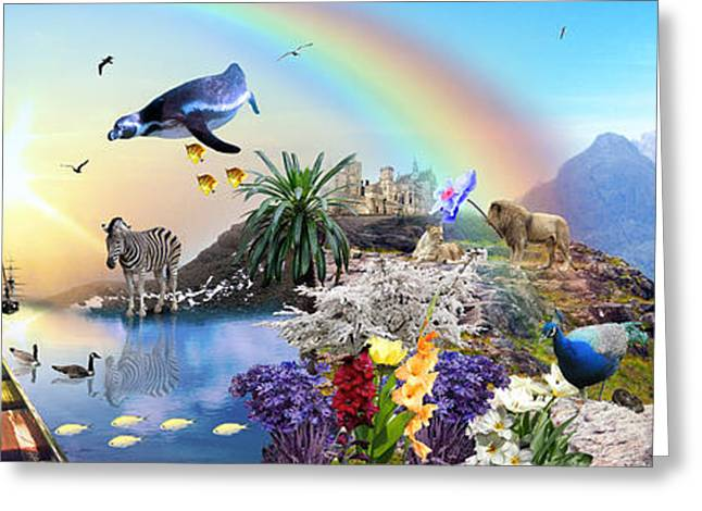 Floral Digital Art Digital Art Greeting Cards - Rainbow Magic Greeting Card by Emily Campbell
