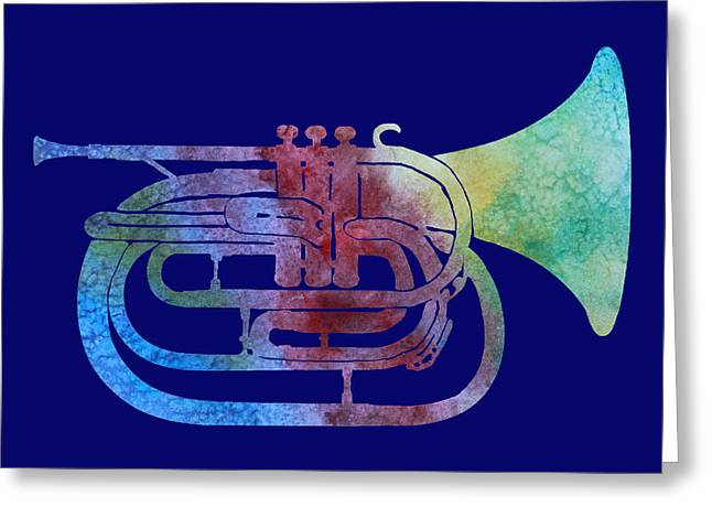 Rainbow Marching French Horn Greeting Card by Jenny Armitage