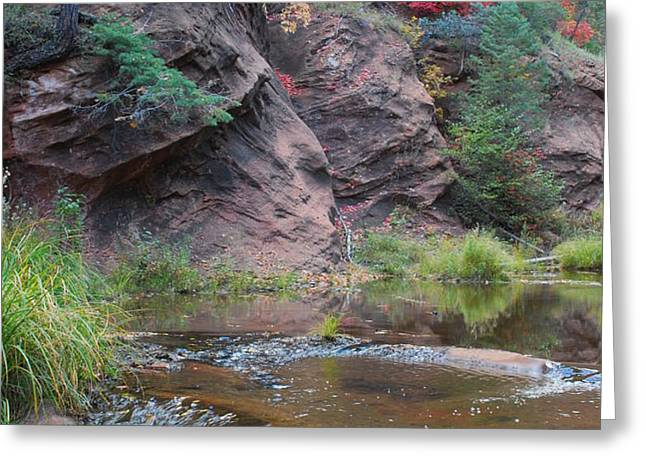 Rainbow of the Season and River over Rocks Greeting Card by Heather Kirk