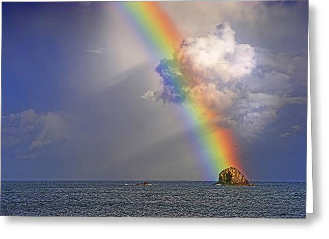 Rainbow On Birdrock- St Lucia. Greeting Card by Chester Williams