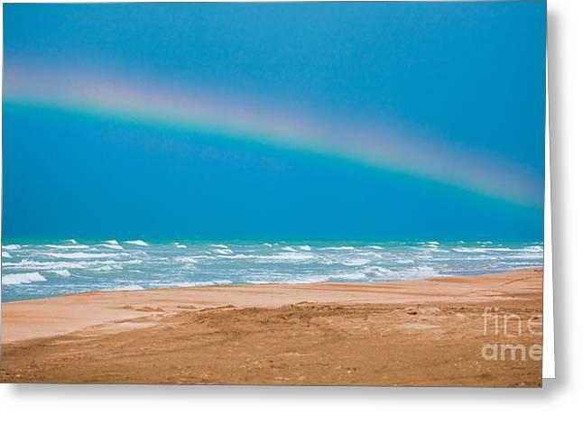 Summer Storm Greeting Cards - Rainbow on Karatas Beach Greeting Card by Gabriela Insuratelu