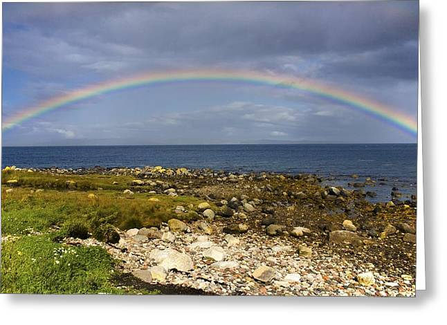 Oceanic Landscape Greeting Cards - Rainbow On The Island Of Arran, Scotland Greeting Card by John Short