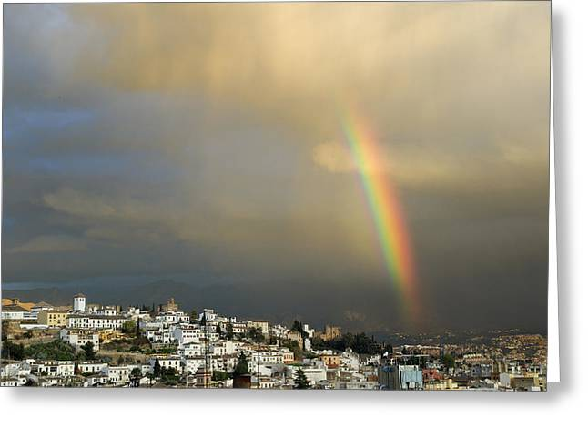Rainbow Over Granada Yesterday Greeting Card by Guido Montanes Castillo