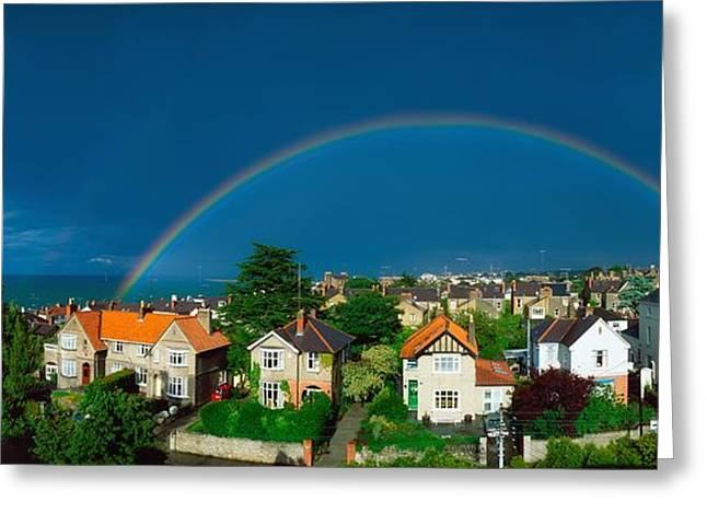 Rainbow Over Housing, Monkstown, Co Greeting Card by The Irish Image Collection