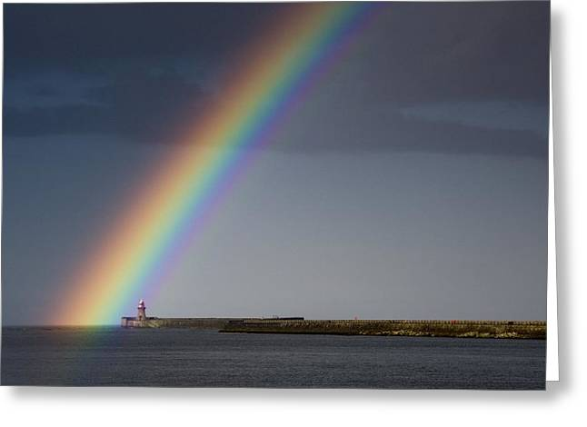 Gods Promises Greeting Cards - Rainbow Over Lighthouse Greeting Card by John Short