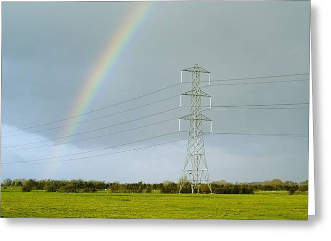 Somerset - England Greeting Cards - Rainbow Over Power Lines Greeting Card by Duncan Shaw