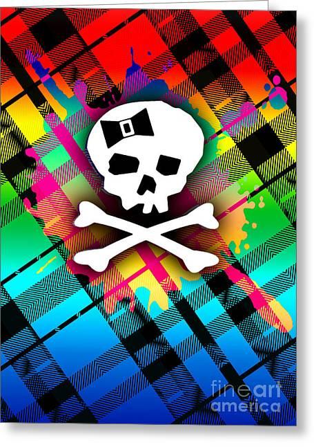 Alternative Skull Greeting Cards - Rainbow Plaid Skull Greeting Card by Roseanne Jones
