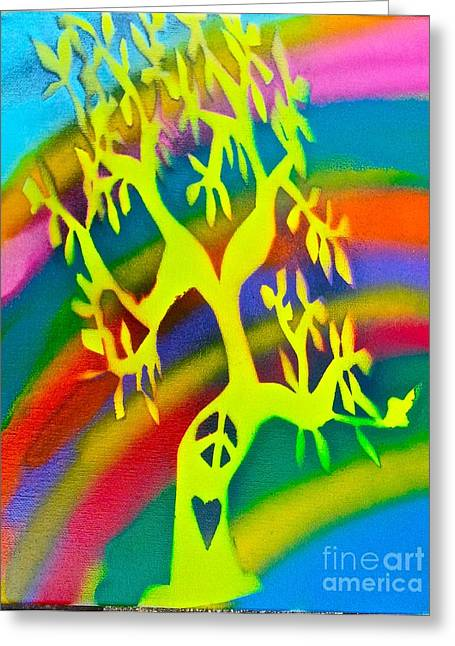 Metaphysics Greeting Cards - Rainbow Roots Greeting Card by Tony B Conscious