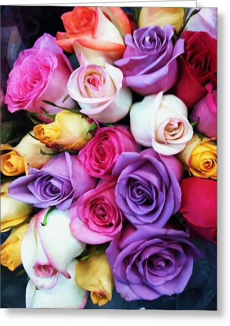 Rainbow Rose Bouquet Greeting Card by Anna Villarreal Garbis