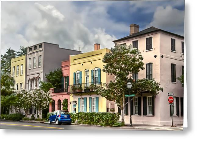 Charleston Houses Greeting Cards - Rainbow Row II Greeting Card by Drew Castelhano