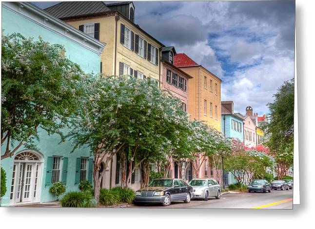 Charleston Sidewalk Greeting Cards - Rainbow Row III Greeting Card by Drew Castelhano