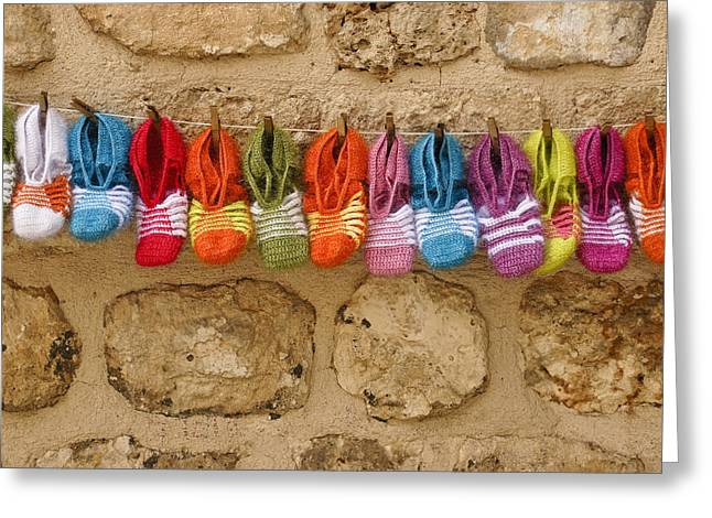 Funny Shoe Greeting Cards - Rainbow Slippers Greeting Card by Michele Burgess