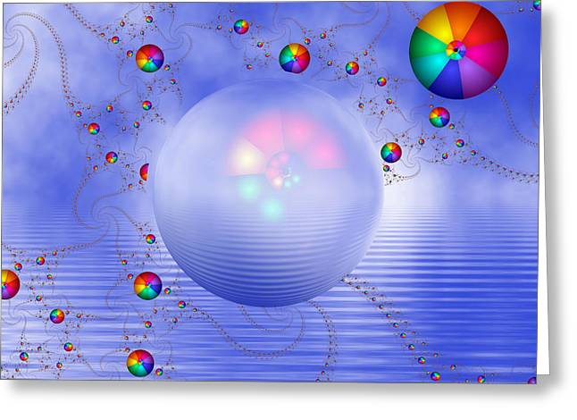 Contemporary Art Greeting Cards - Rainbow Sphere on Blue Lake Greeting Card by Pam Blackstone