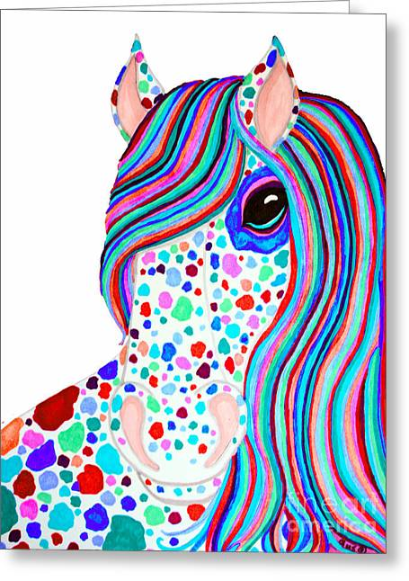 Spot Drawings Greeting Cards - Rainbow Spotted Horse 2 Greeting Card by Nick Gustafson