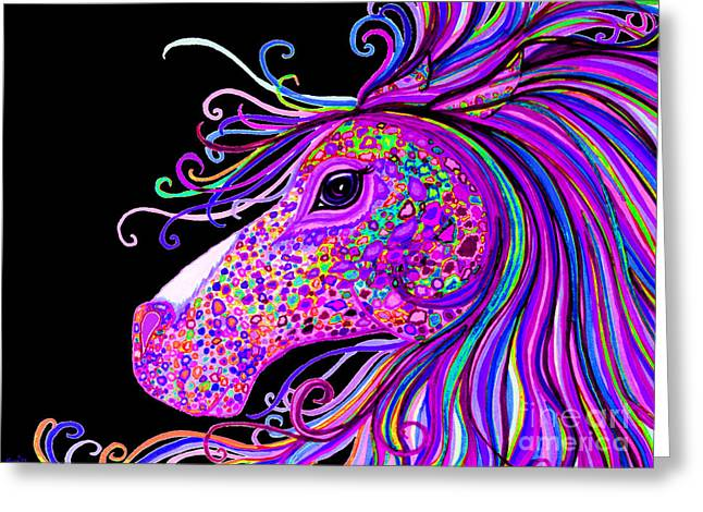 Rainbow Spots Greeting Cards - Rainbow Spotted Horse Head 2 Greeting Card by Nick Gustafson