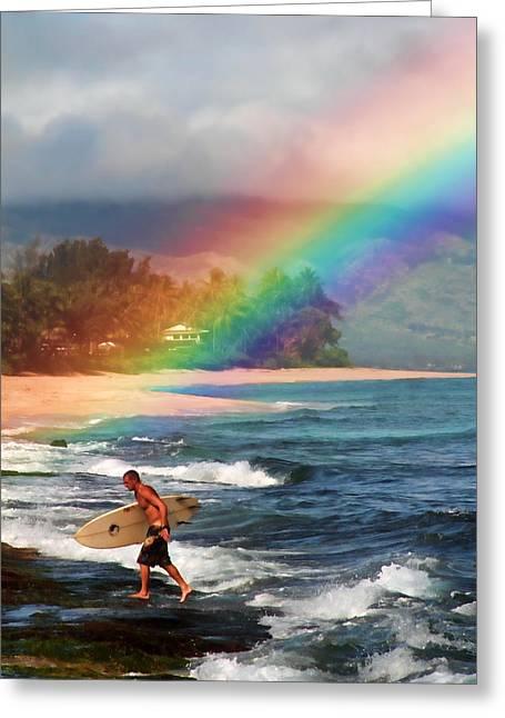 Laniakea Beach Greeting Cards - Rainbow Surfer Greeting Card by Joel Lau