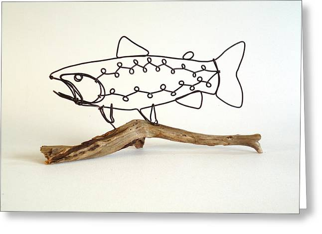 Stream Sculptures Greeting Cards - Rainbow Trout Greeting Card by Bud Bullivant