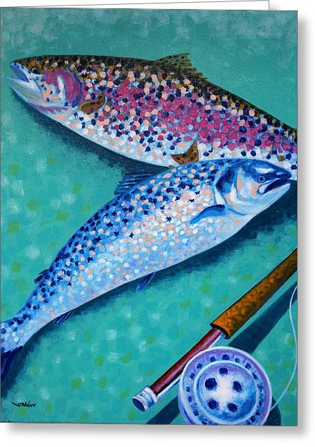 Restaurant Canvases Greeting Cards - Rainbow Trout With Grilse Greeting Card by John  Nolan