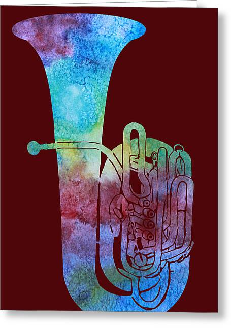 Rainbow Tuba Greeting Card by Jenny Armitage