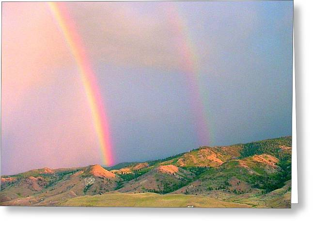 Double Rainbow Digital Art Greeting Cards - Rainbow Twins Greeting Card by Edward Hass