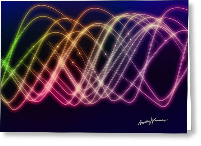 Sine Greeting Cards - Rainbow Waves Greeting Card by Anthony Caruso