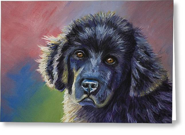 Puppies Pastels Greeting Cards - Rainbows and Sunshine - Newfoundland Puppy Greeting Card by Michelle Wrighton