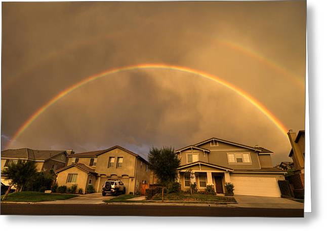 Rainbows Over Suburbia 2 Greeting Card by Jessica Velasco