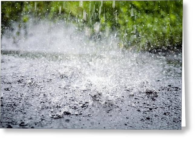 River Flooding Greeting Cards - Raindrops Falling On Water Greeting Card by Dr Keith Wheeler
