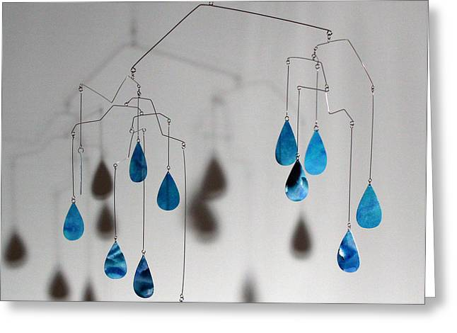 Ceiling Mobile Greeting Cards - Raindrops Kinetic Mobile Sculpture Greeting Card by Carolyn Weir