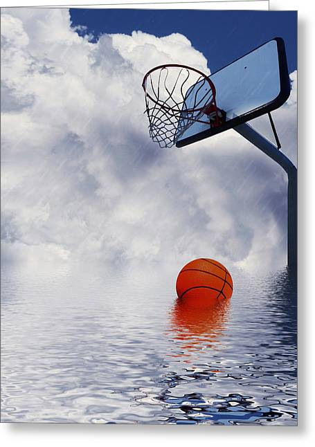 Hoops Mixed Media Greeting Cards - Rained Out Game Greeting Card by Gravityx Designs