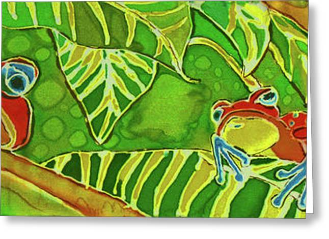 Amphibians Tapestries - Textiles Greeting Cards - Rainforest Buds Greeting Card by Kelly     ZumBerge