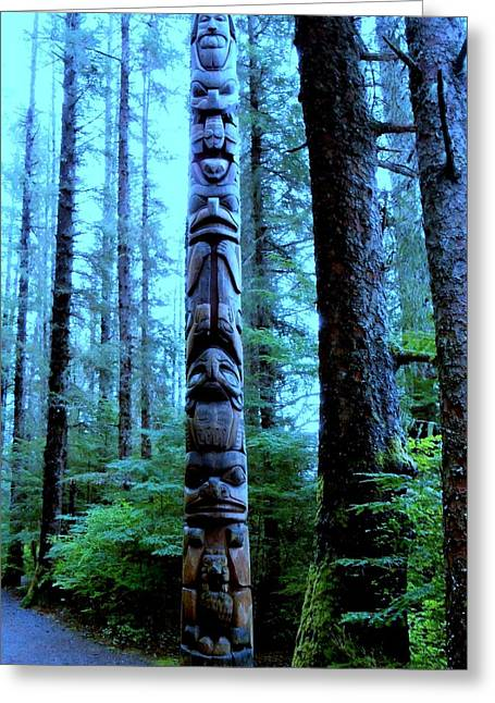 Wood Carving Greeting Cards - Rainforest Totem Greeting Card by Randall Weidner