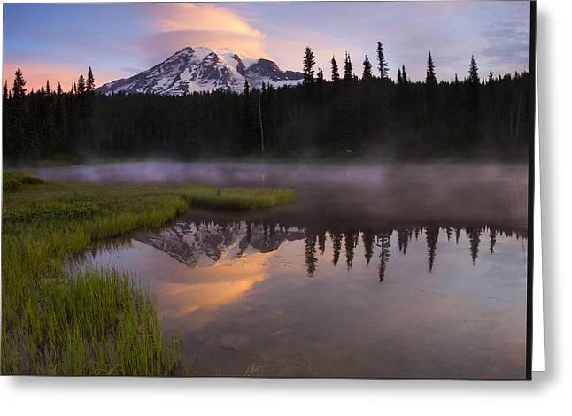 Mt Rainier Greeting Cards - Rainier Lenticular Sunrise Greeting Card by Mike  Dawson
