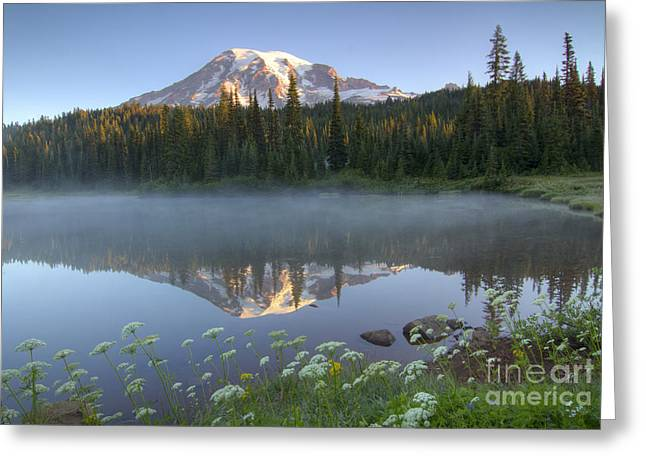 Washington Beauty Greeting Cards - Rainier Reflected Greeting Card by Idaho Scenic Images Linda Lantzy