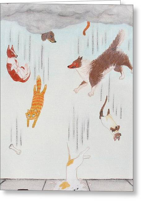 Puddle Drawings Greeting Cards - Raining Cats and Dogs Greeting Card by Michelle Miron