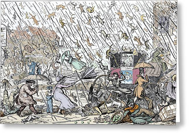 Historical Pictures Greeting Cards - Raining Cats And Dogs Greeting Card by Sheila Terry