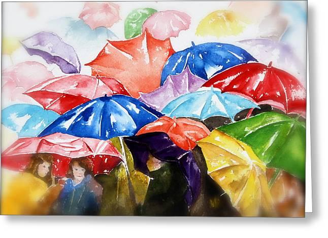 Raining Greeting Cards - Raining Umbrellas Greeting Card by Peg Ott Mcguckin
