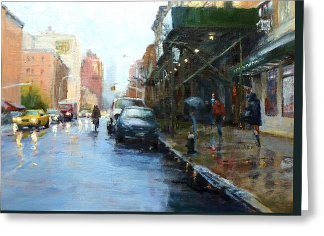 Rainy Afternoon on Amsterdam Avenue Greeting Card by Peter Salwen