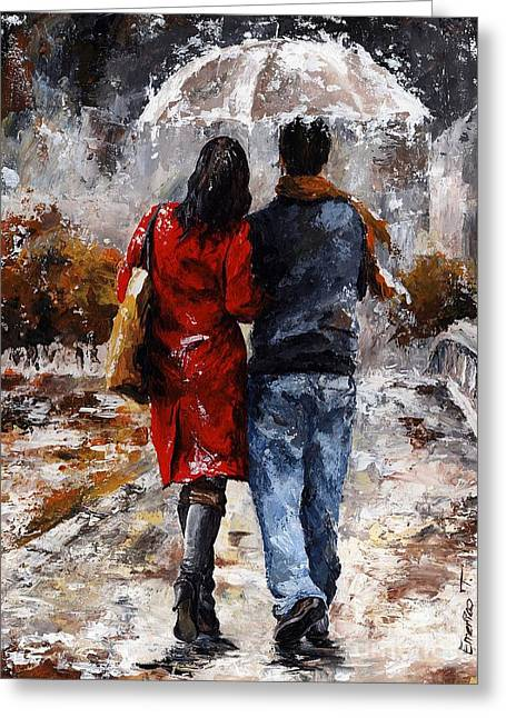 Harts Paintings Greeting Cards - Rainy day - Walking in the rain Greeting Card by Emerico Imre Toth