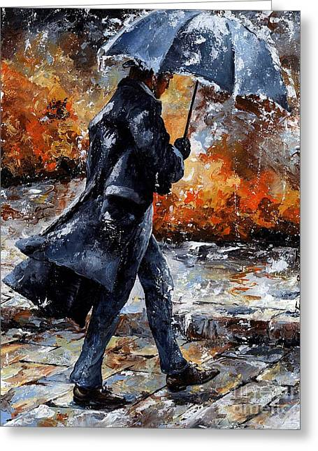 Umbrellas Mixed Media Greeting Cards - Rainy day/07 - Walking in the rain Greeting Card by Emerico Imre Toth